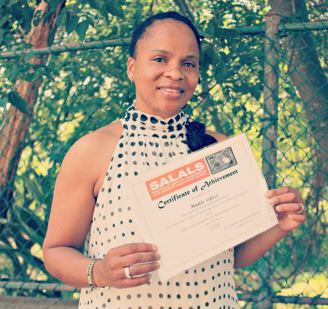 Lecturer Mrs Muhle Sibisi - the recipient of the Young Linguist Award.