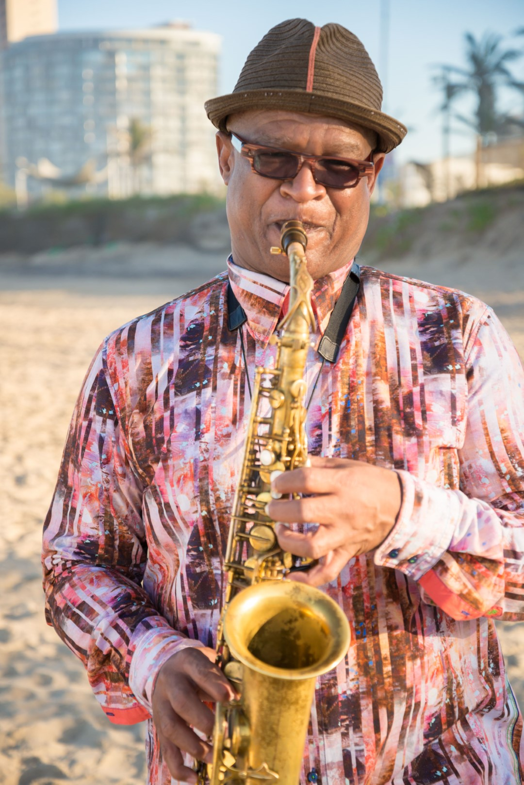 Saxophonist Ernest Dawkins of the United States.