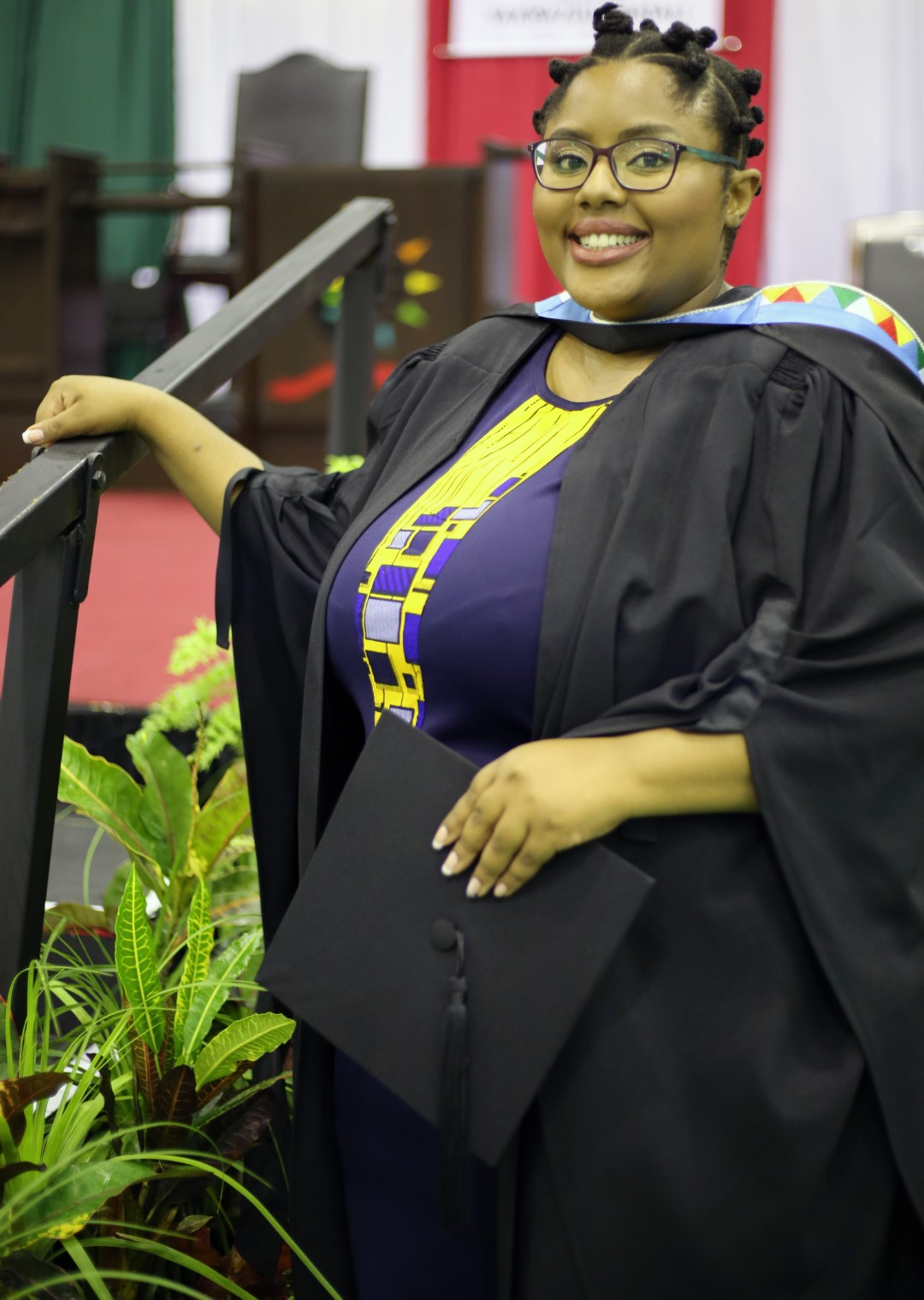 UKZN staff member Ms Thulile Zama graduates with her Honours degree in Social Sciences.
