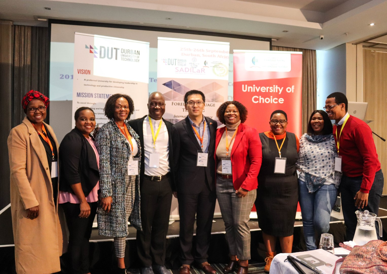 At the Foreign Language Teaching International Conference were (from left) Dr Phindi Dlamini (UKZN), Ms Phumzile Xulu (DUT), Dr Lolie Makhubu-Badenhorst (UKZN), Professor Nhlanhla Mkhize (UKZN), Mr Lin WU (DUT), Professor Nobuhle Hlongwa (UKZN), Dr Gugu Mazibuko (UKZN), Ms Roo Mabuya (SADiLaR: N-WU) and Professor Langa Khumalo (UKZN).